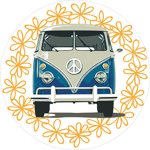 VW Bulli (blau & Blümchen)